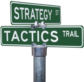 Street Sign showing Strategy and Tactics for Local Presence